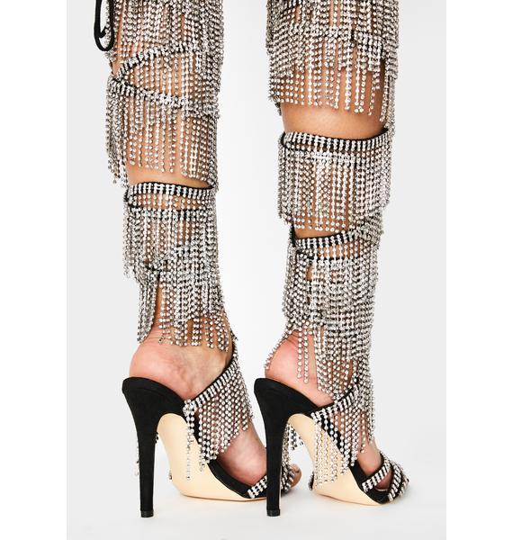 AZALEA WANG Casey Fringe Wrap Heels