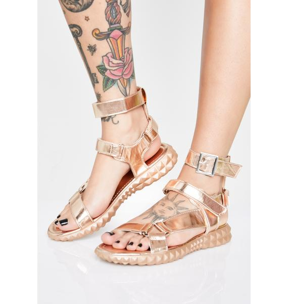Gilded Demigod Gladiator Sandals