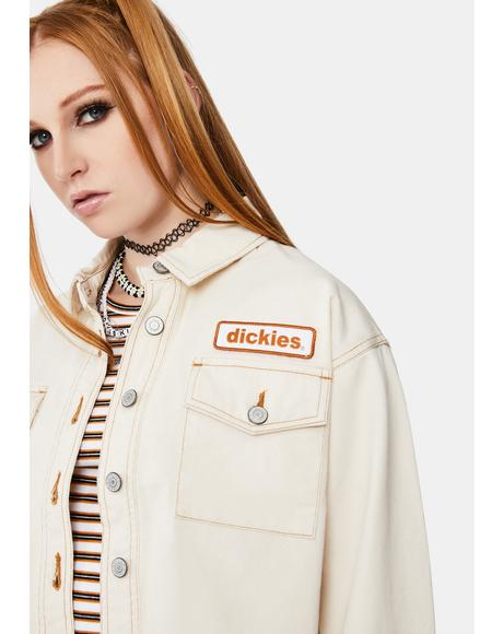 Logo Patch Crop Trucker Jacket
