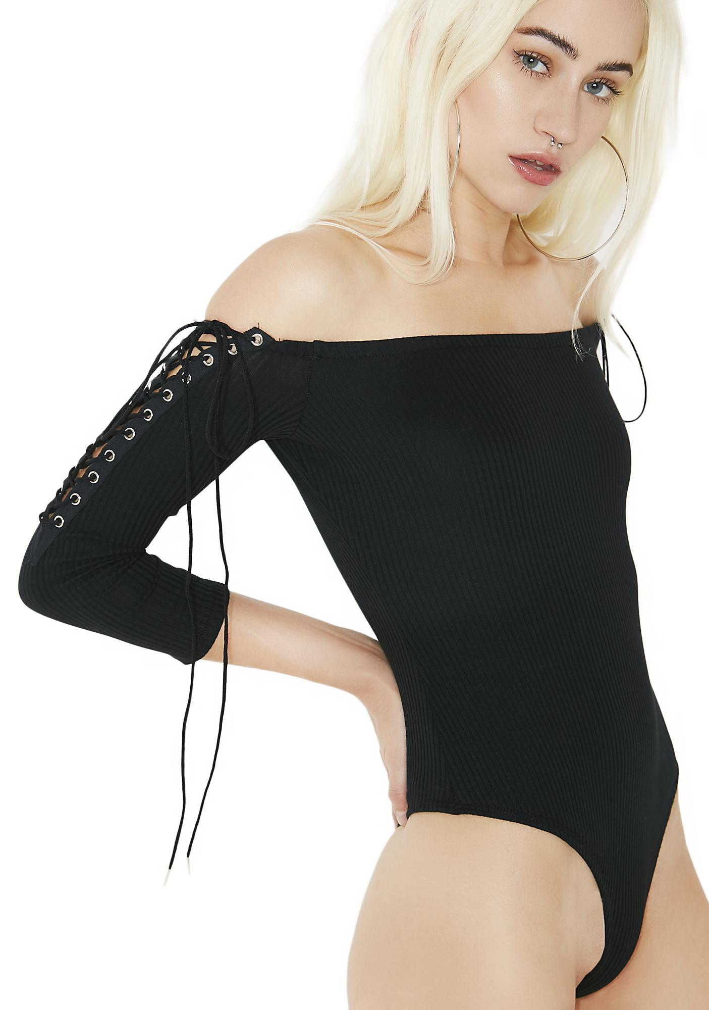 Play Dirty Off-Shoulder Lace-Up Bodysuit