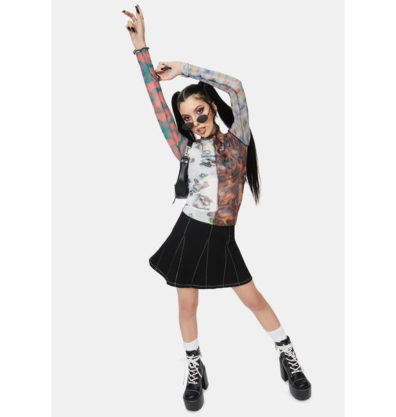 NEW GIRL ORDER Spliced Patchwork Mesh Top