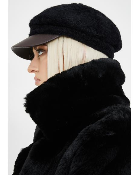 Time Flies By Faux Fur Cap