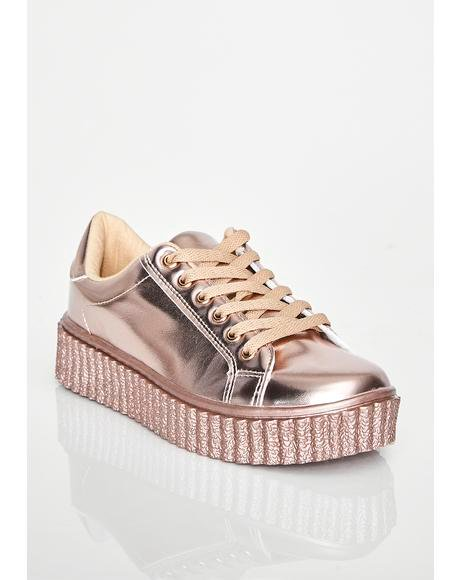 Rose Liquid Dreams Metallic Sneakers