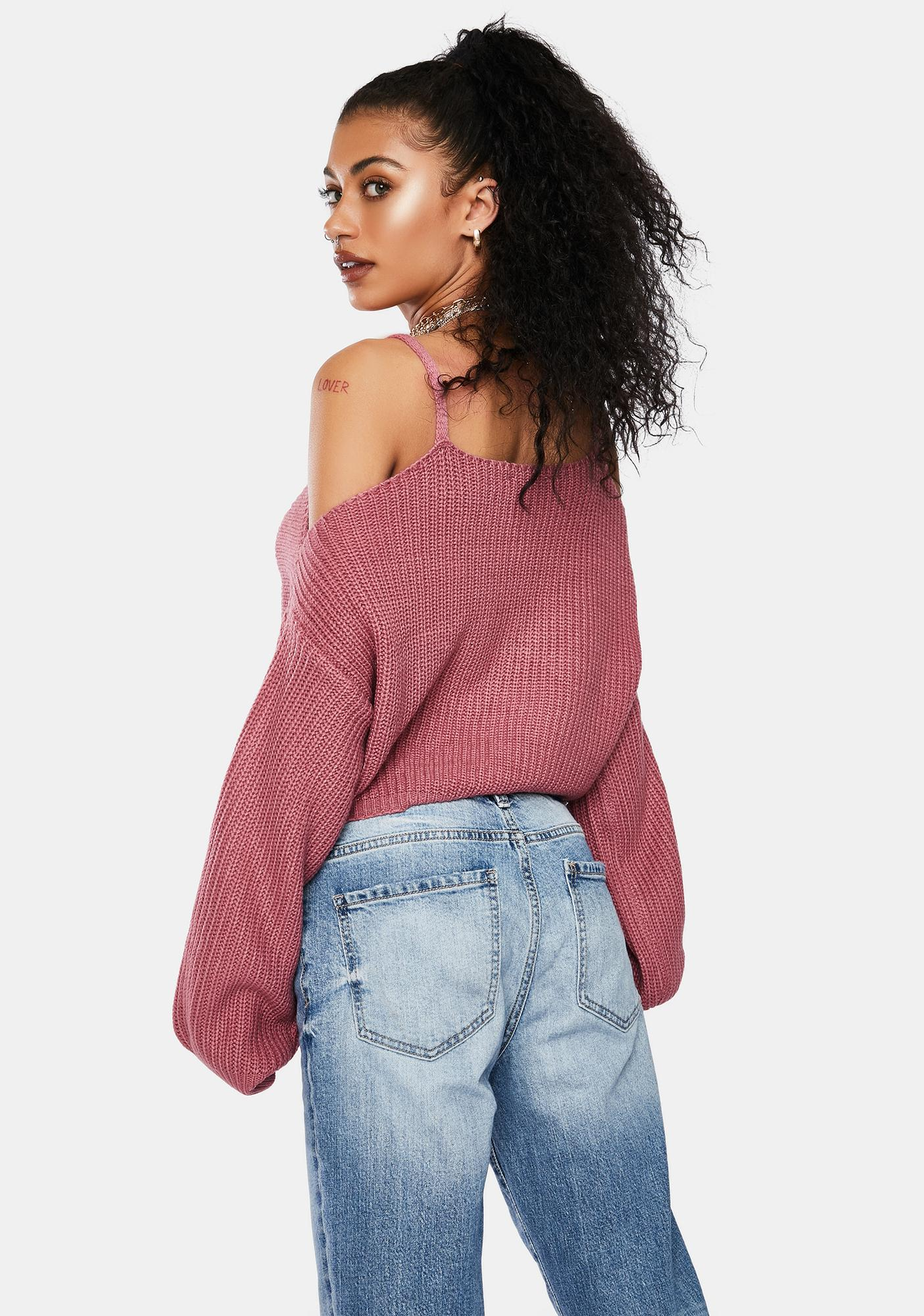 Mauve Looking For You Cold Shoulder Sweater