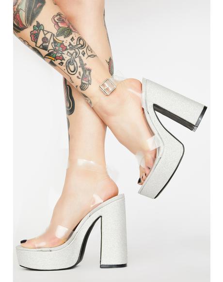Silver Kayla Platform Heels