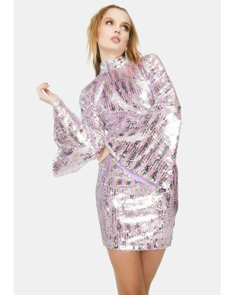 Iridescent Sequin Open Back Mini Dress