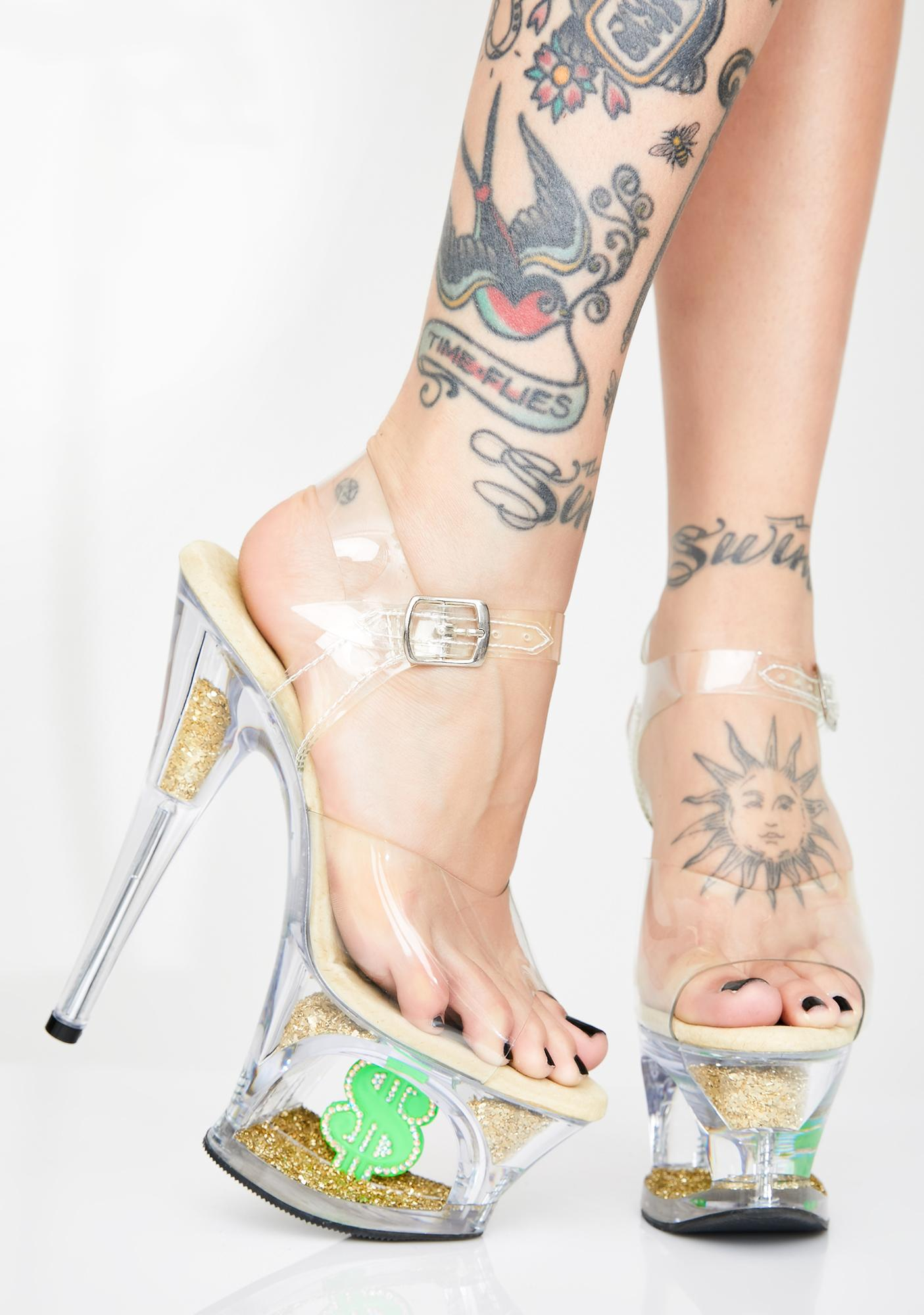 Pleaser Shmoney Honey Platform Heels