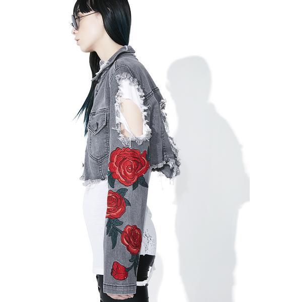 Midnight Desert Rose Distressed Jacket