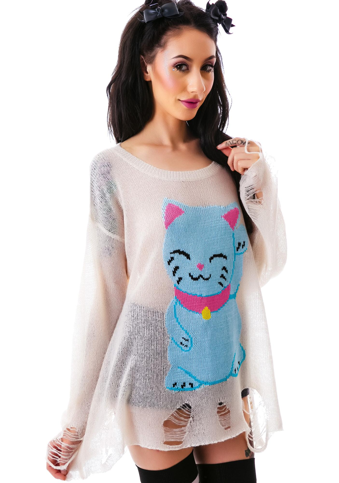 Wildfox Couture Couture Fat Cat Lenon Sweater