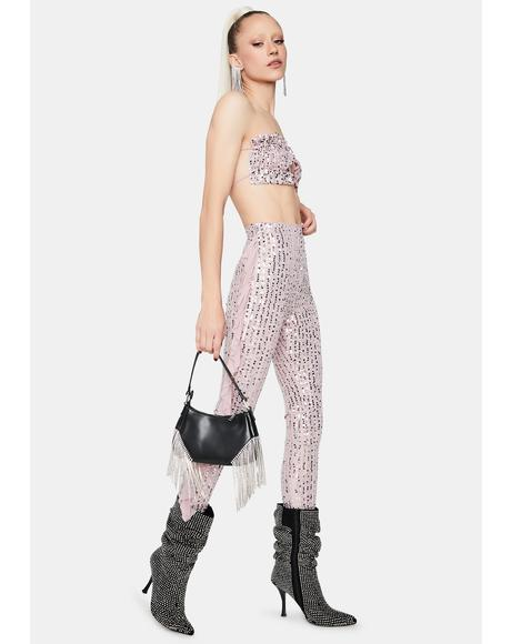 Mauve Fast Talking Gal Sequin Pants Set