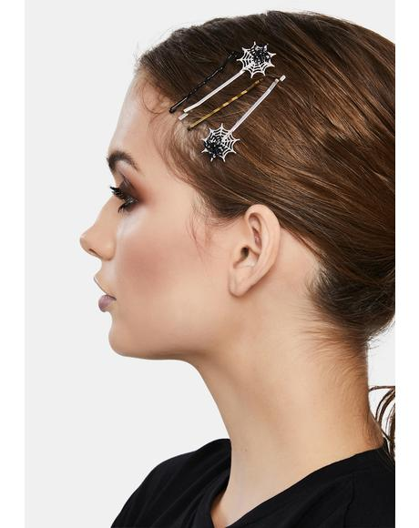 Glitzy Spider in Web Hair Pins