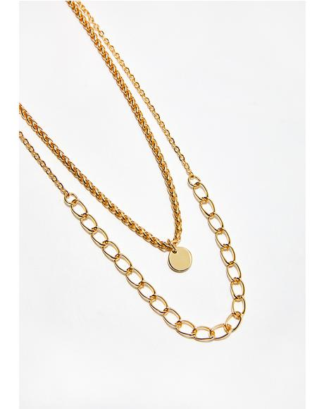 Flashy Gold Layered Necklace