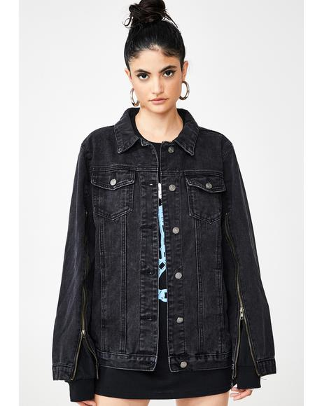 Zip Sleeve Black Denim Jacket