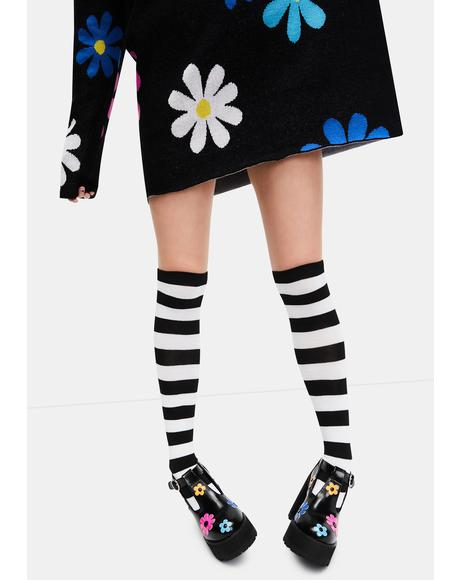 Playful Lane Striped Thigh High Socks