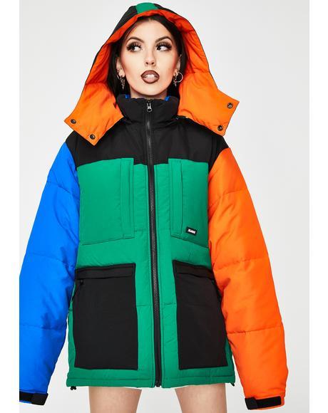 Hooded Front Pocket Down Jacket