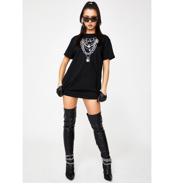 Poster Grl Stackin' Checks T-Shirt Dress