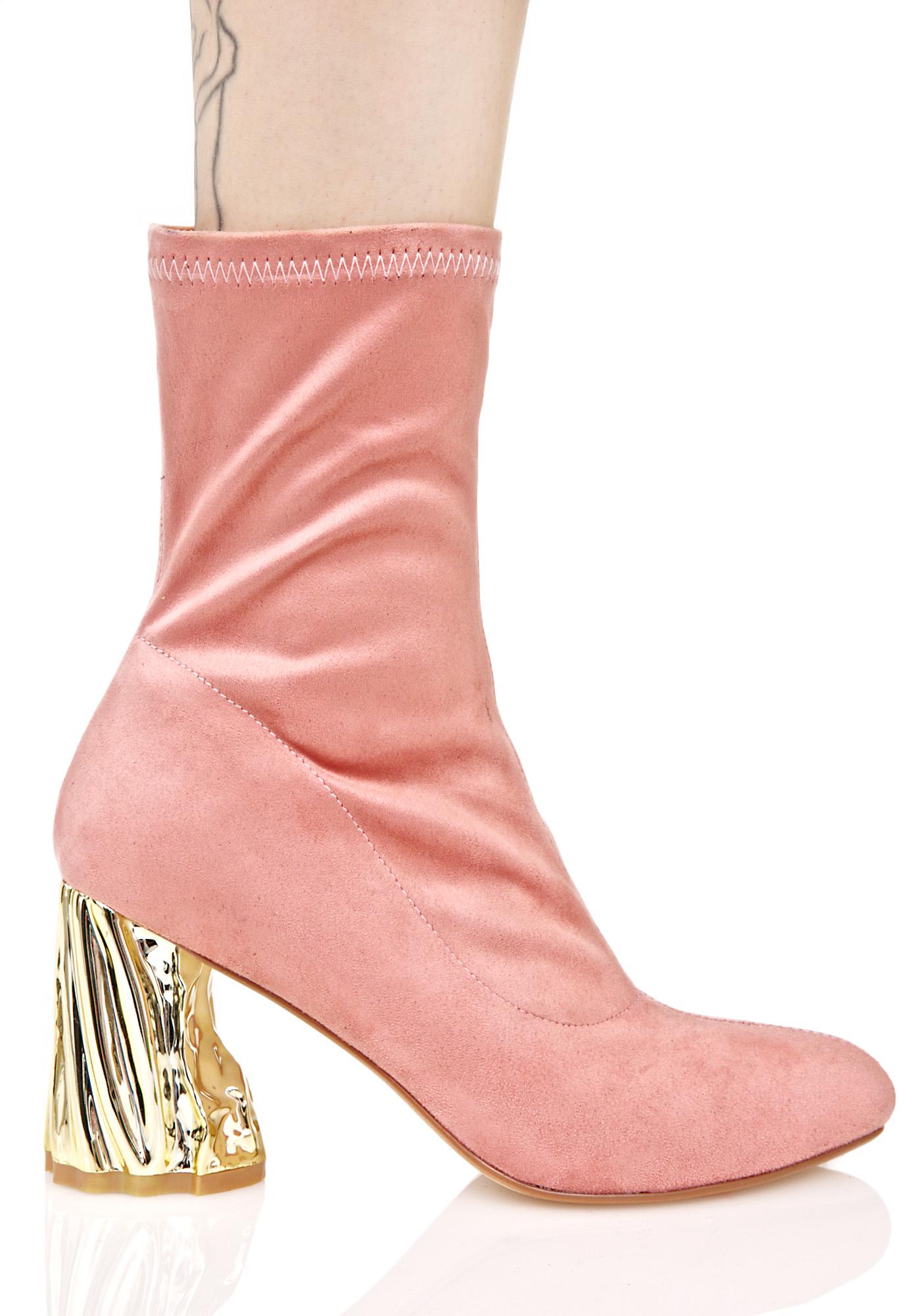 Pink Vegan Suede Boot Carved Heel
