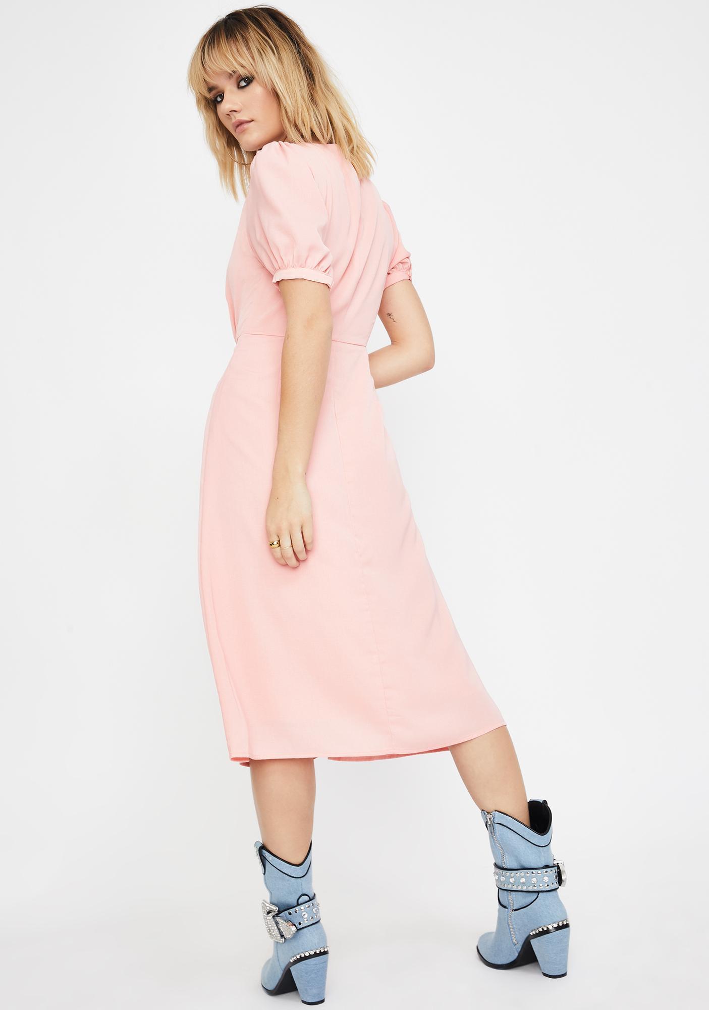 Glamorous Coral Button Up Midi Dress