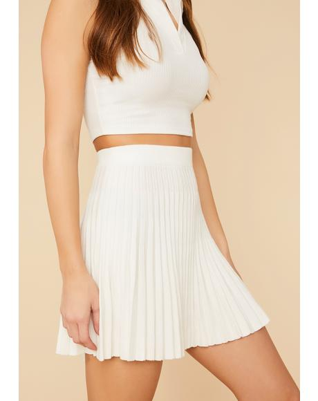 Pure Belong To Me Pleated Knit Mini Skirt