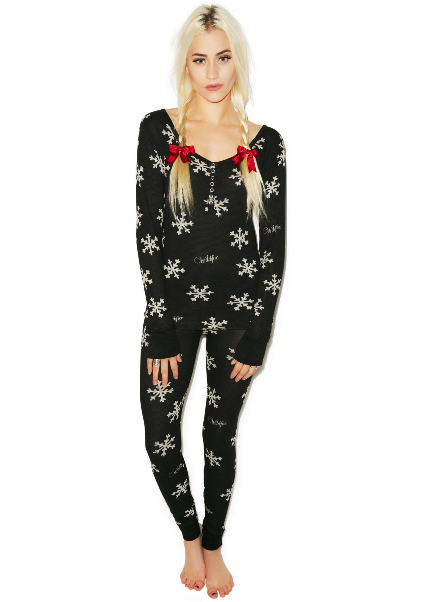 Wildfox Couture Snowflake Ski Bunny Pajama Set  5d2666541