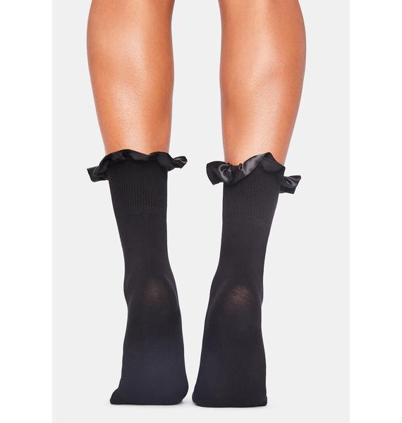 Noir All My Loving Ruffle Socks