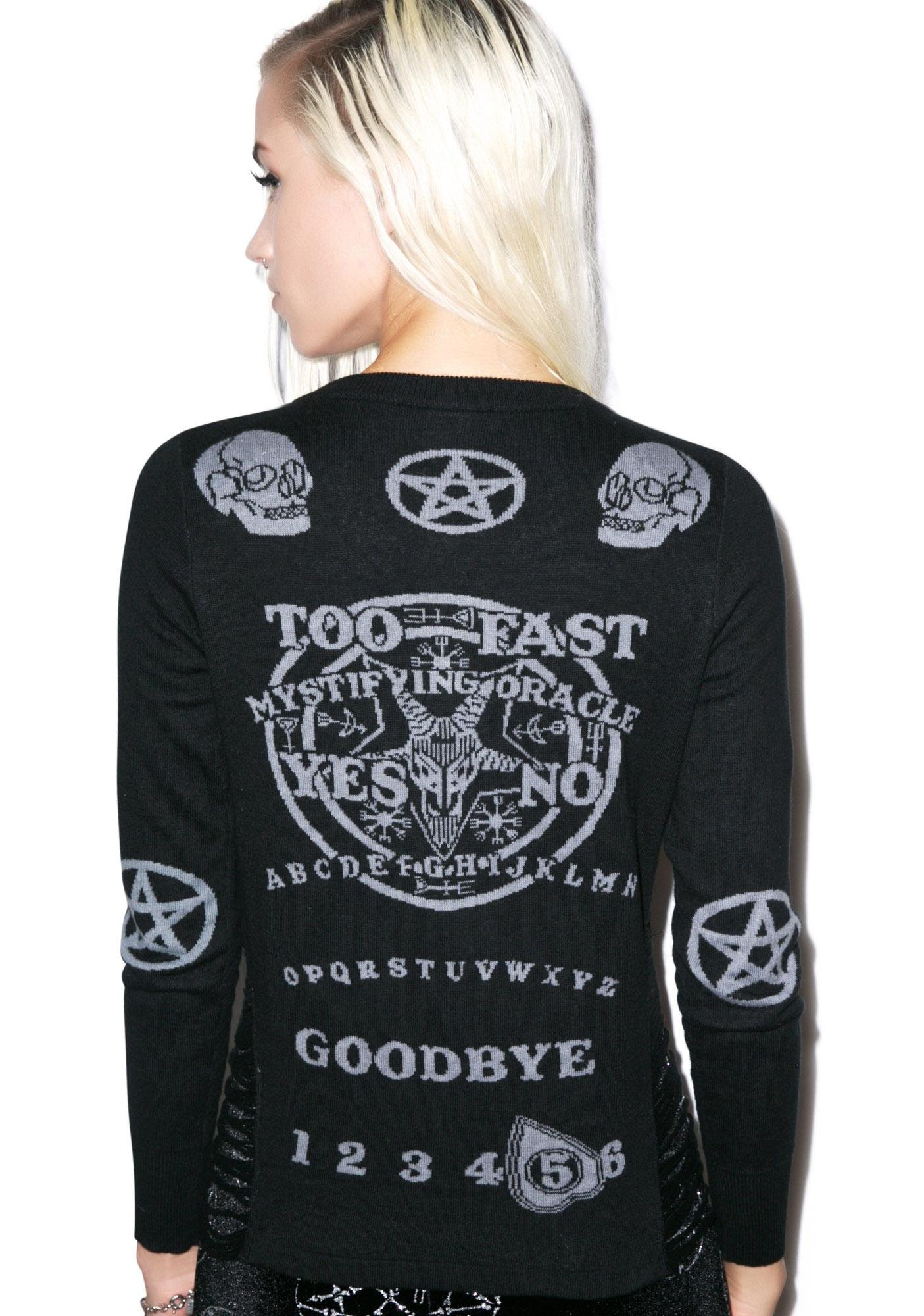 Too Fast Ouija Side Slashed Cardigan