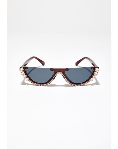 Cognac Crystal Vizion Half Sunglasses