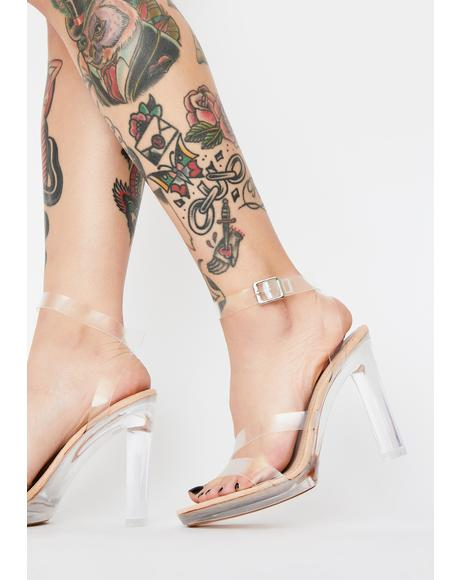 Clear Brittany Strappy Heels