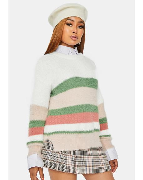 Jump on it Side Slit Striped Sweater
