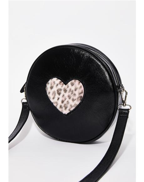 Pink Fur Heart Vinyl Bag