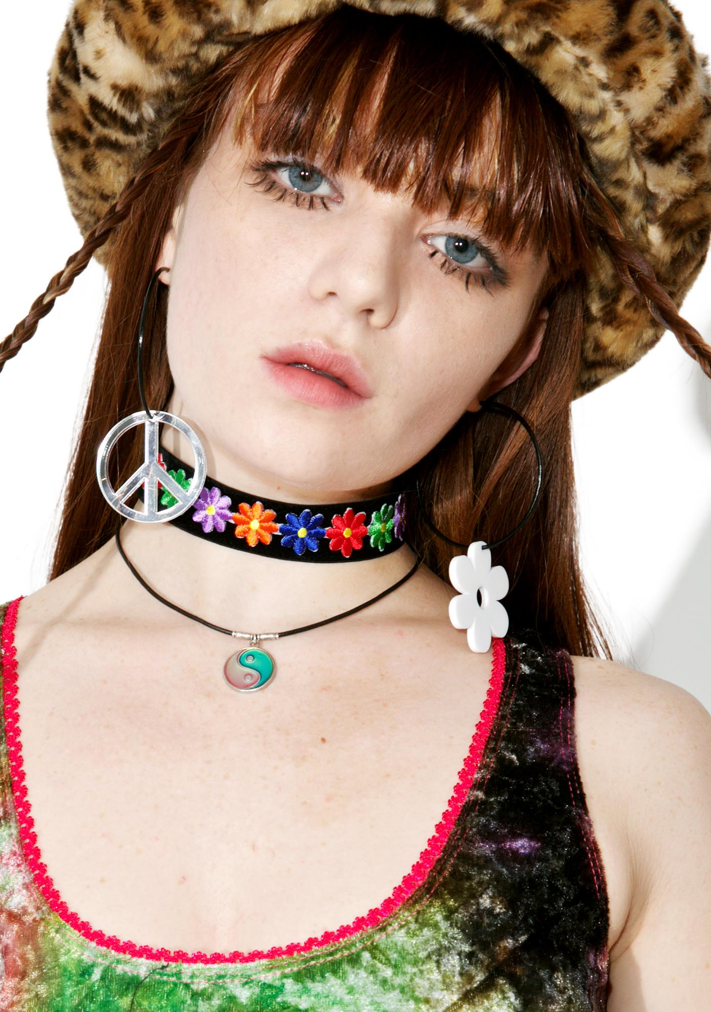 Suzywan Deluxe Peace Sign N' Daisy Black Hoops