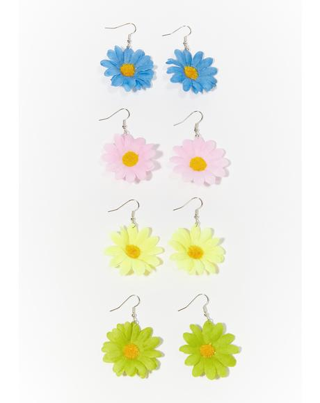 Magical Frolic Flower Earrings Set