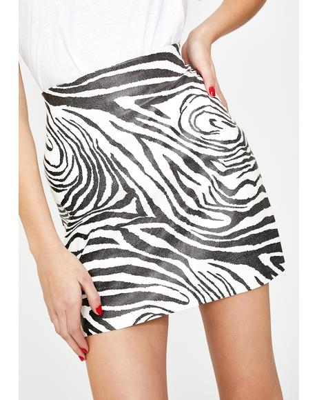 Zebra A-Line Mini Skirt