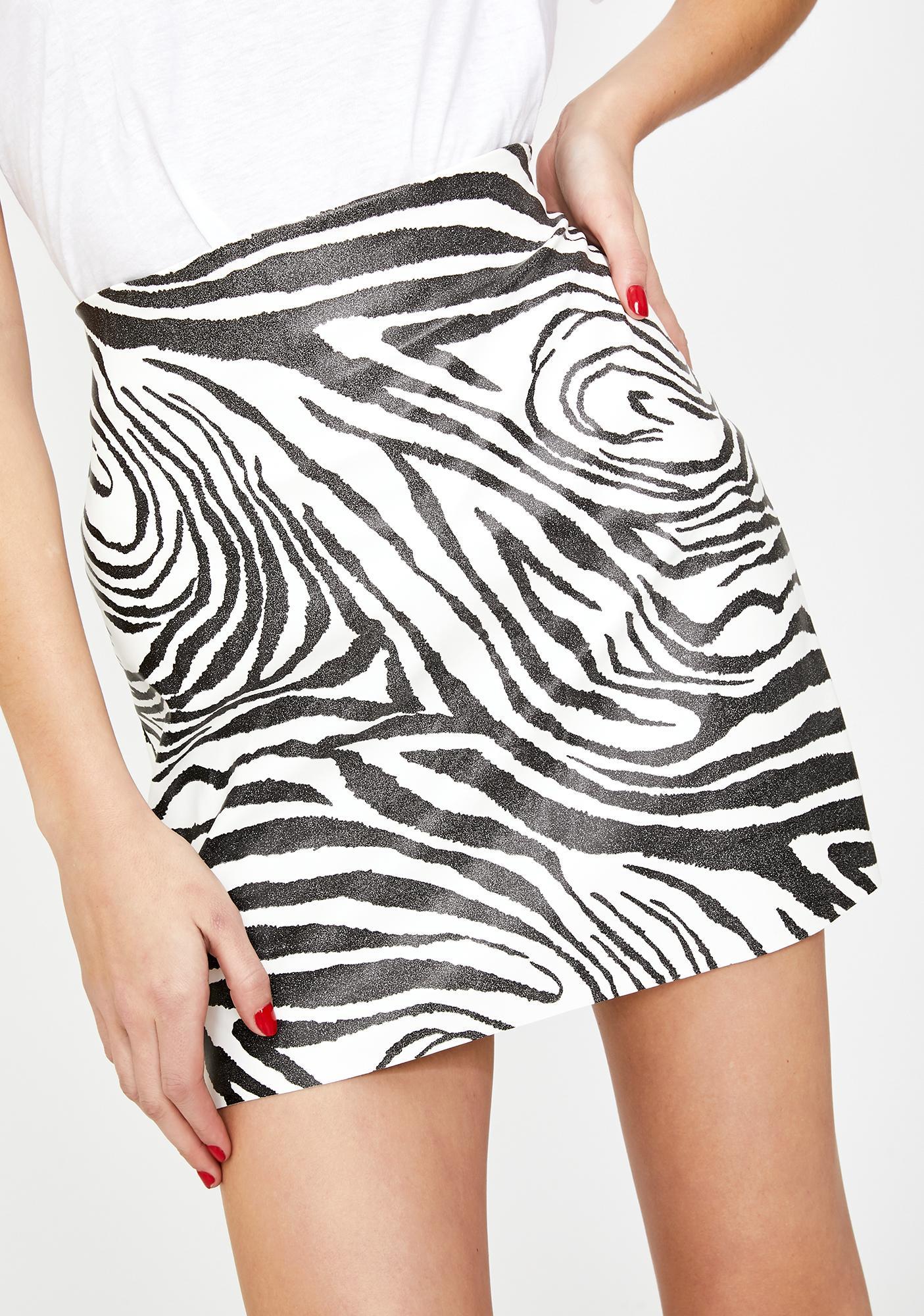 Another Reason Zebra A-Line Mini Skirt