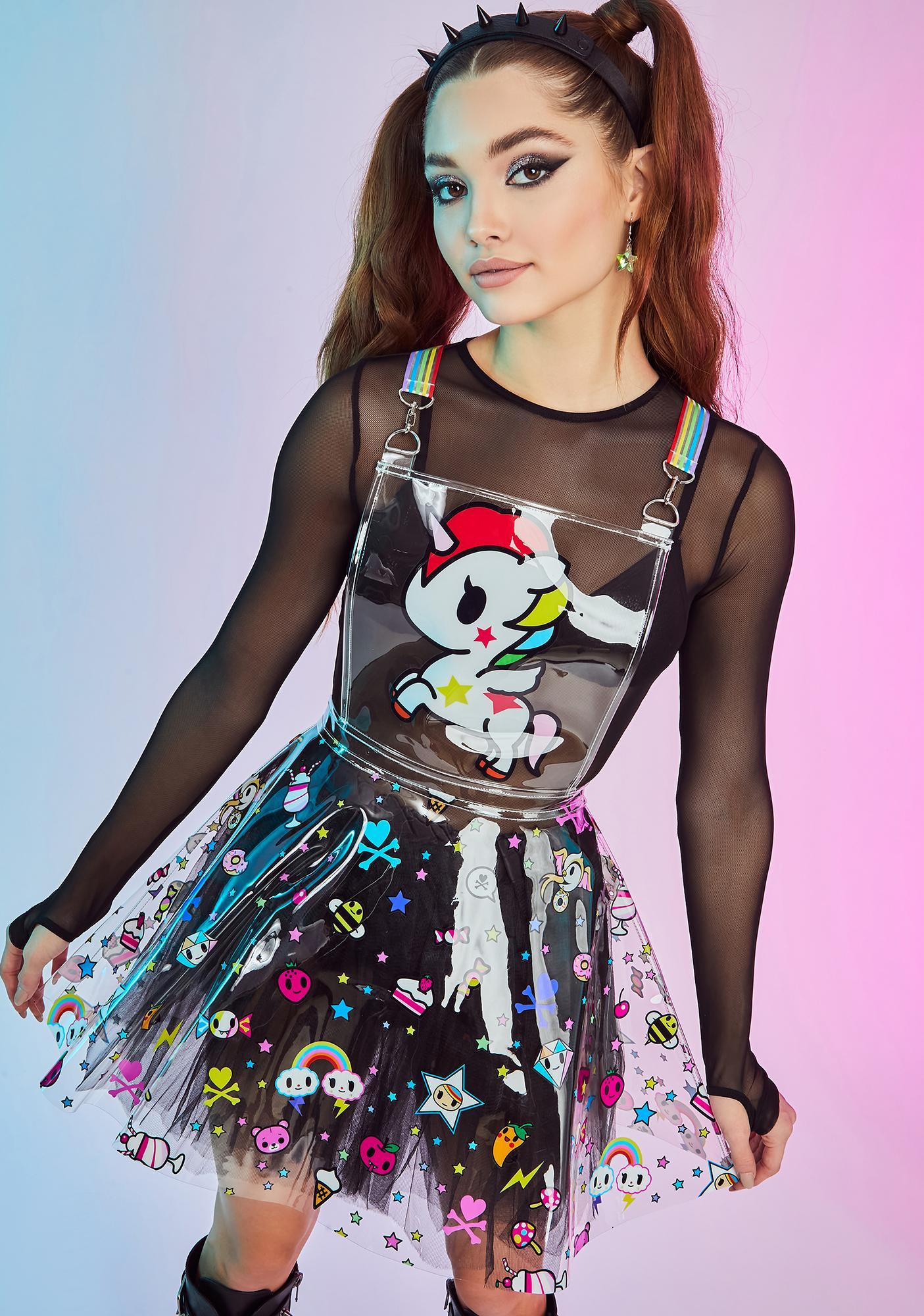 Dolls Kill x tokidoki Glitter Parade Clear Overall Dress
