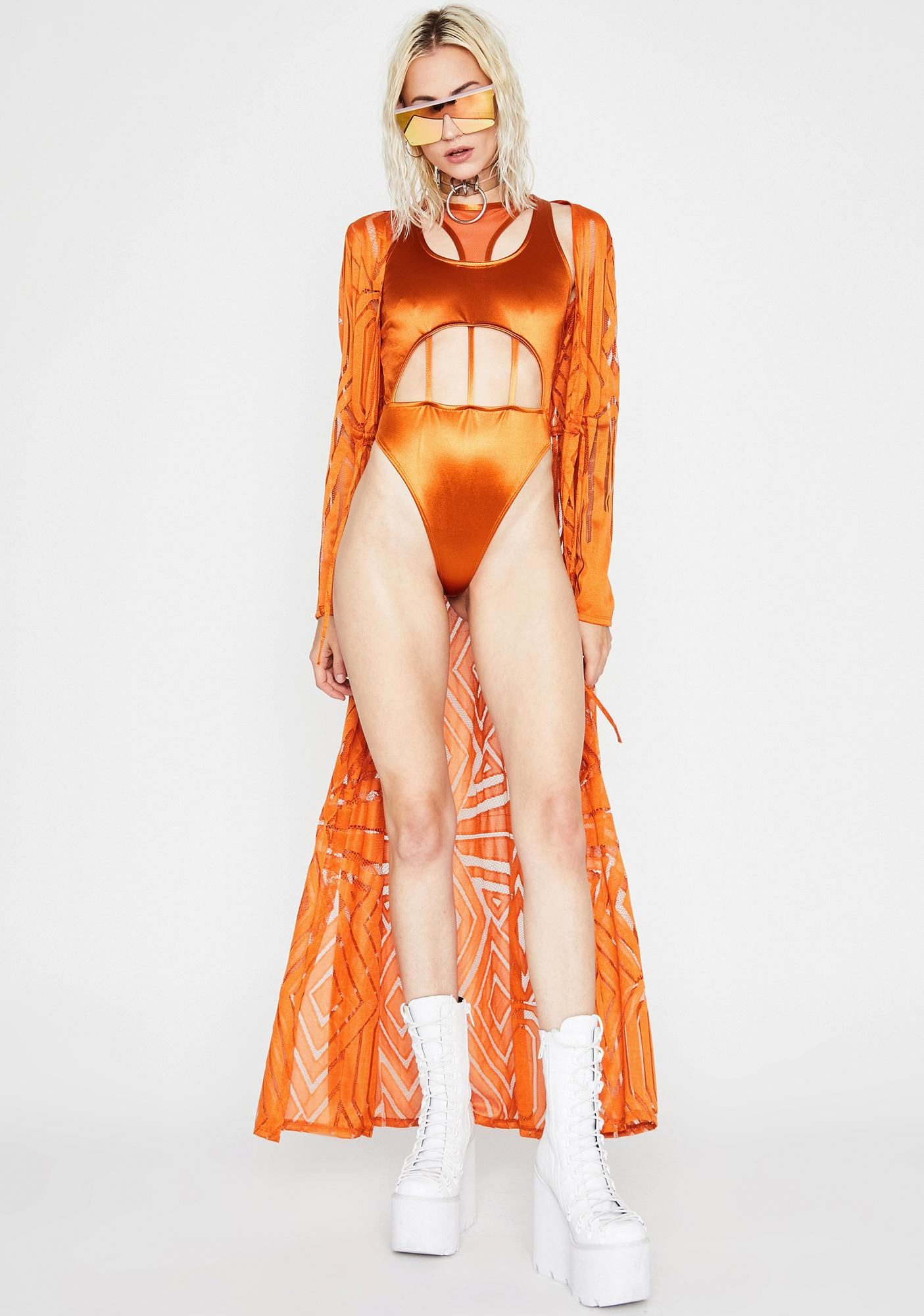 Caramel Cage Fighter Cut Out Bodysuit