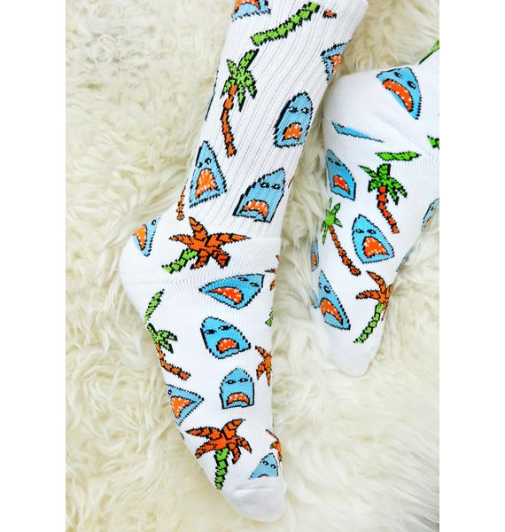 HUF Anne Freeman Shark Attack Crew Socks