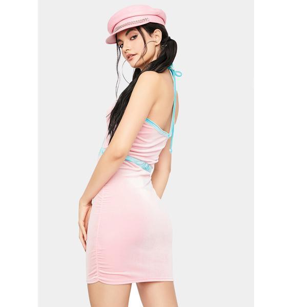 Sugar Trust In Chic Velour Halter Dress