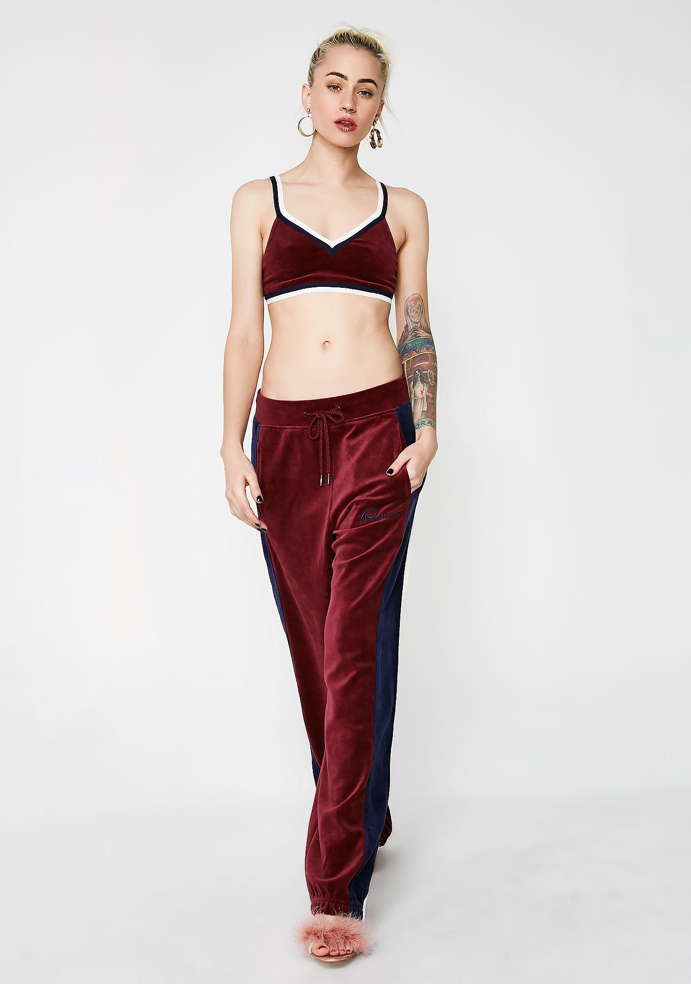 PUMA FENTY PUMA By Rihanna Wine V Neck Velour Crop Top