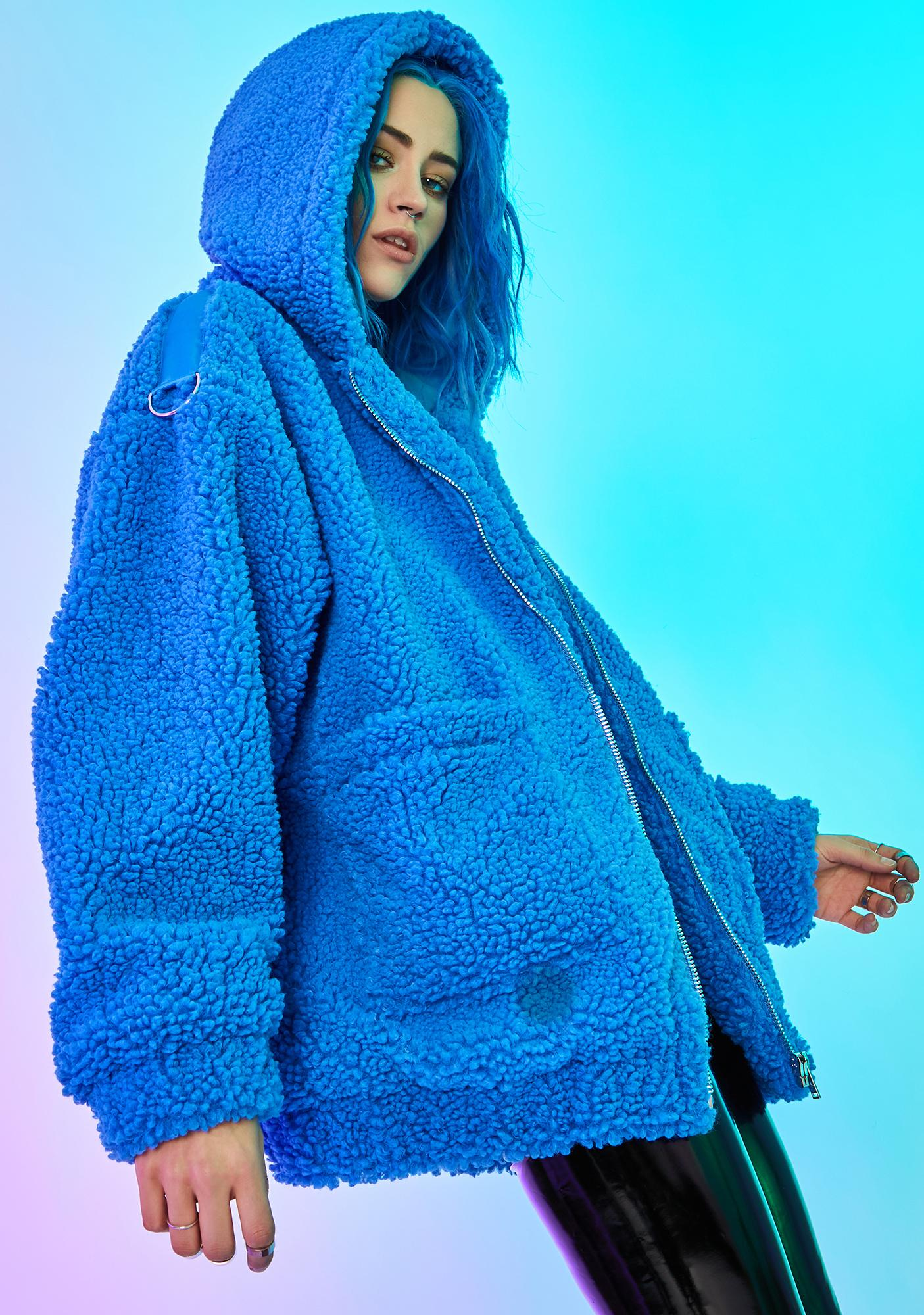 Current Mood Azure Blissful Misery Teddy Hoodie