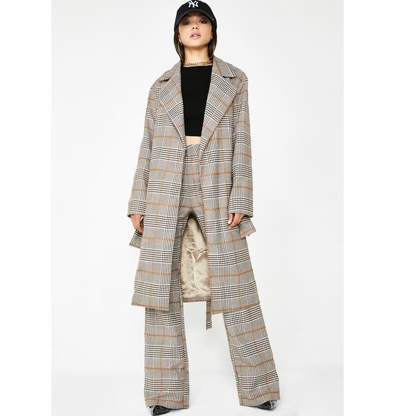 Stroke Of Luck Plaid Trench