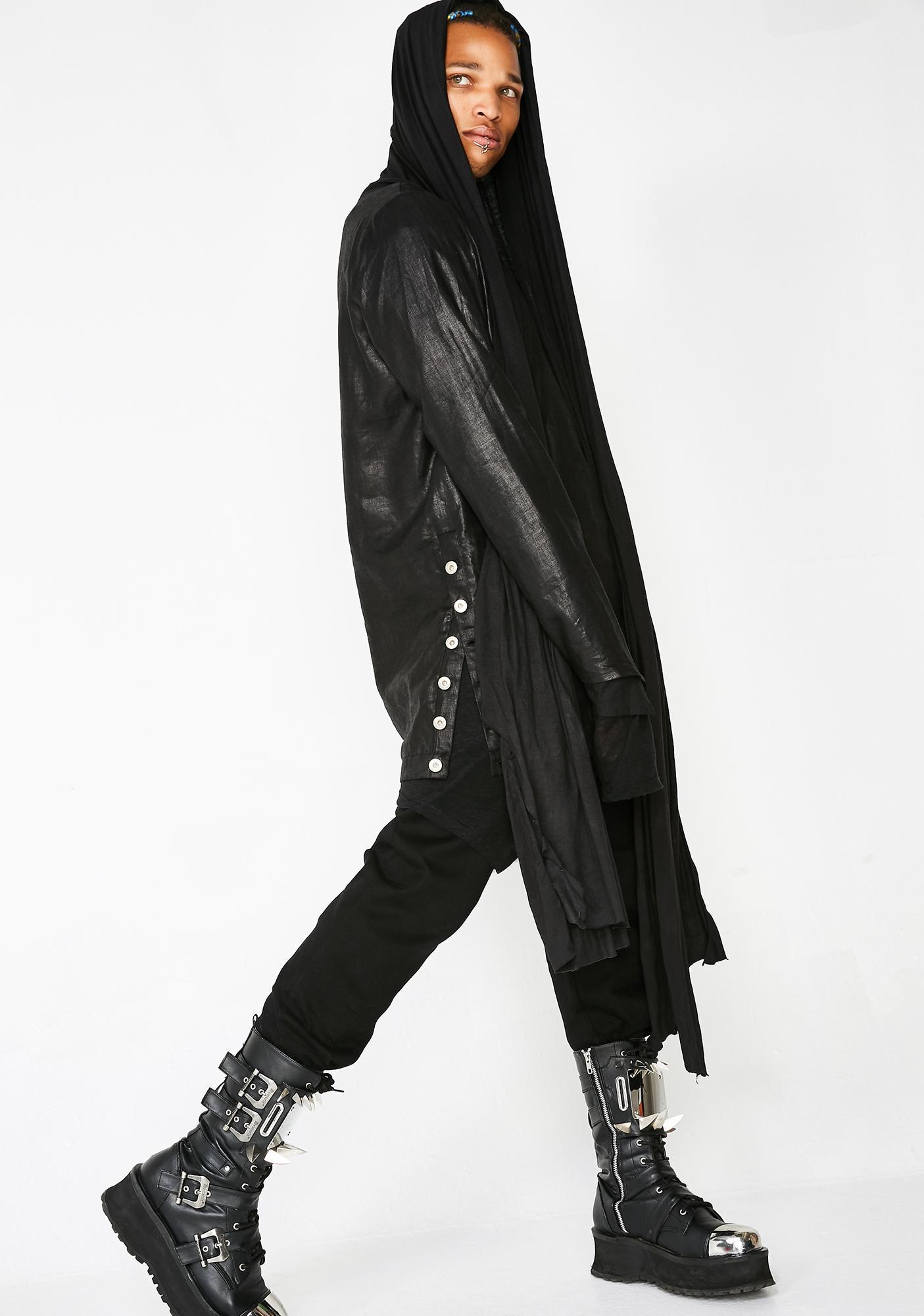 Matter of Black Crinkled Linen Pullover