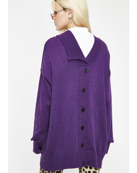 Plum Prim N' Unproper Knit Cardigan