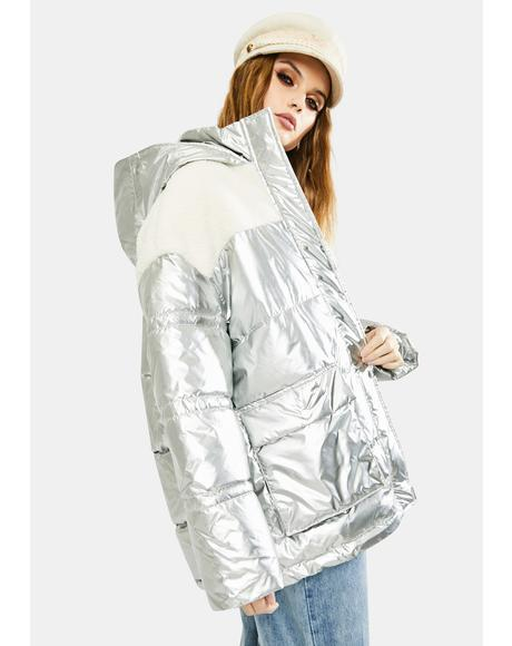 Metallic Sherpa Puffer Jacket