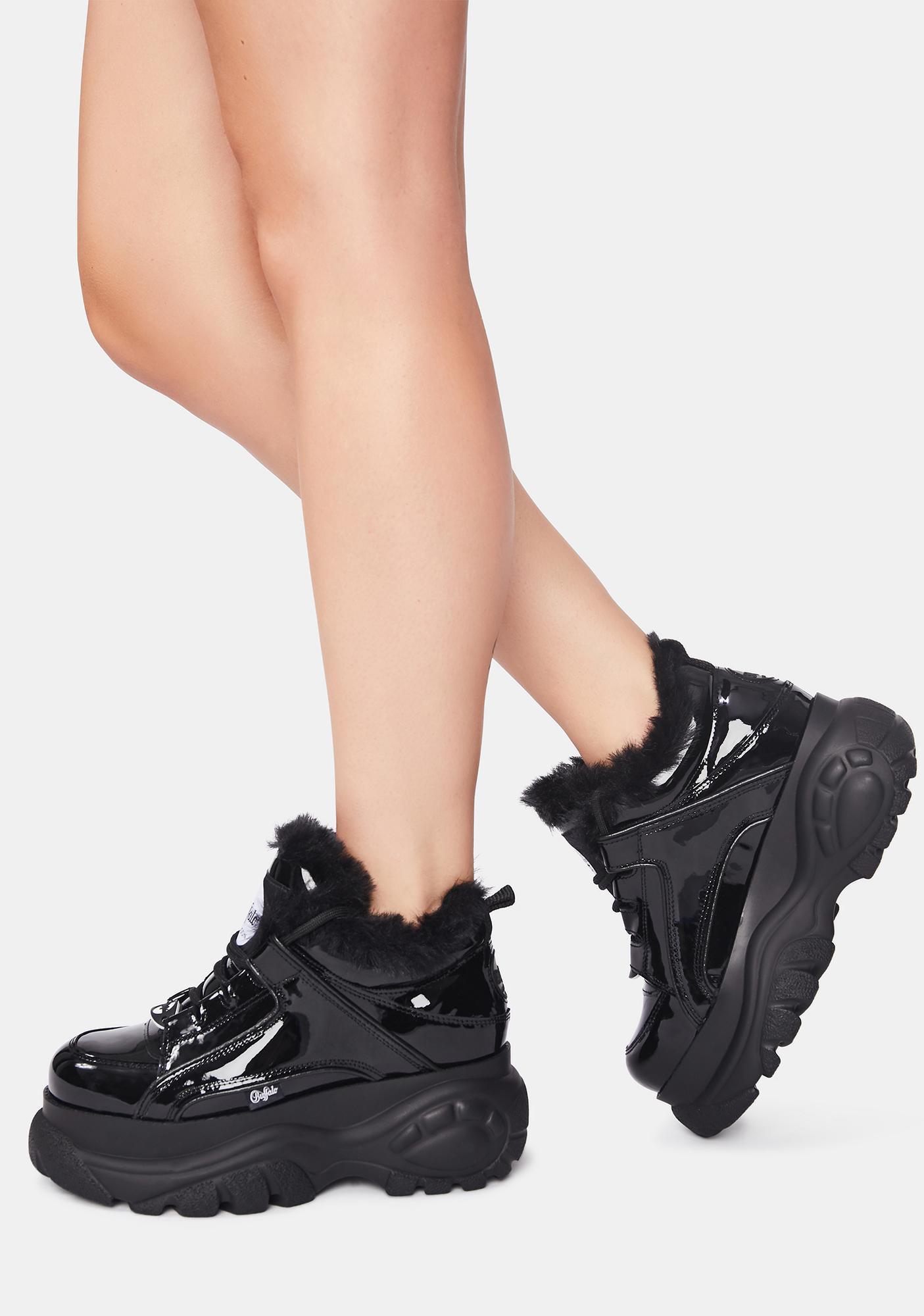 Buffalo London Black Classic Fur Lined Patent Sneakers