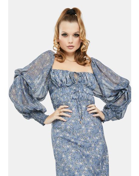 Aglow Floral Midi Dress