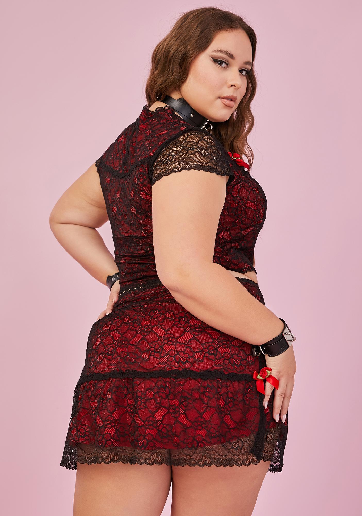Sugar Thrillz Spicy In Portrait Mode Lace Mini Skirt