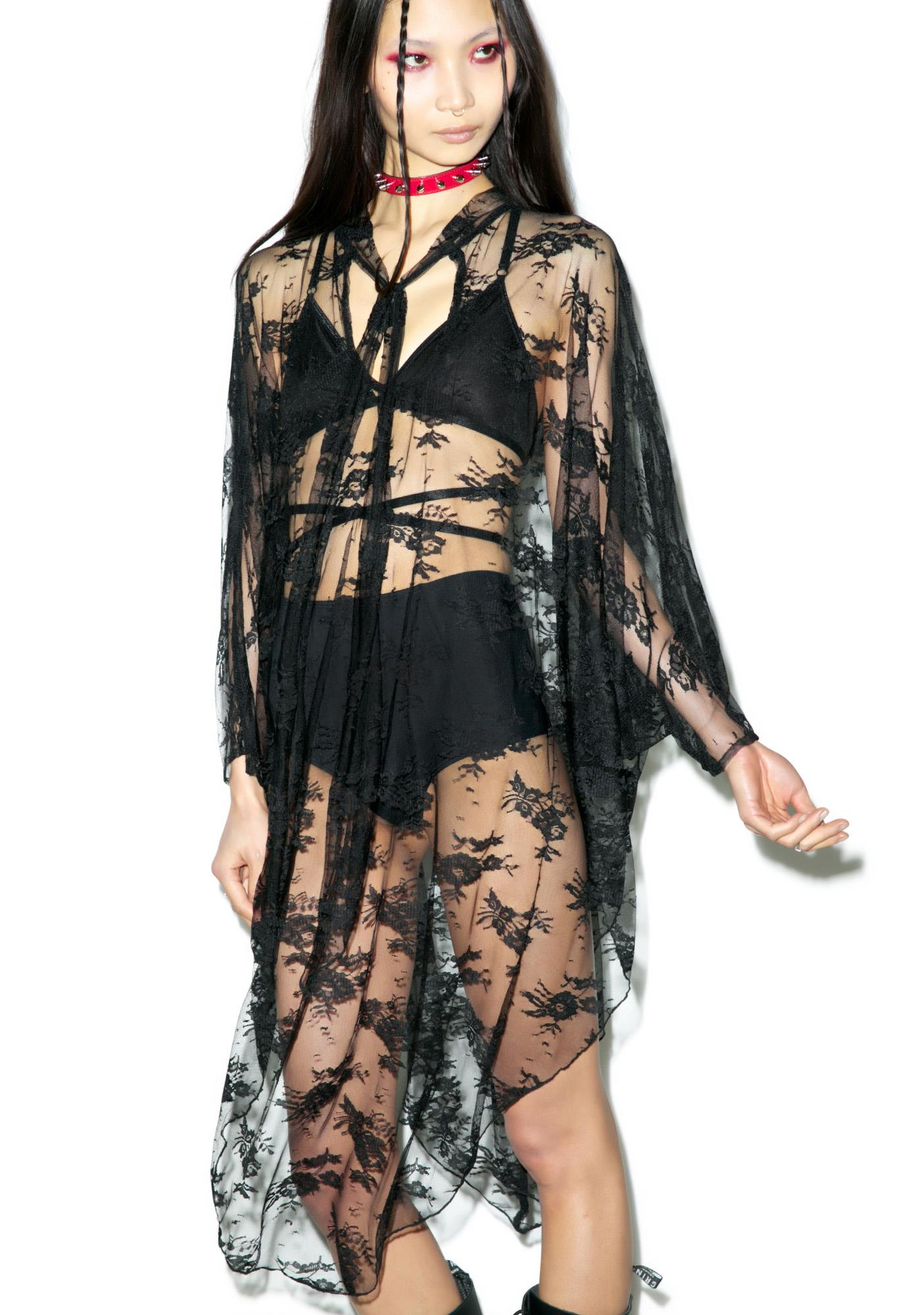 Widow Death Wish Lace Batwing Dress
