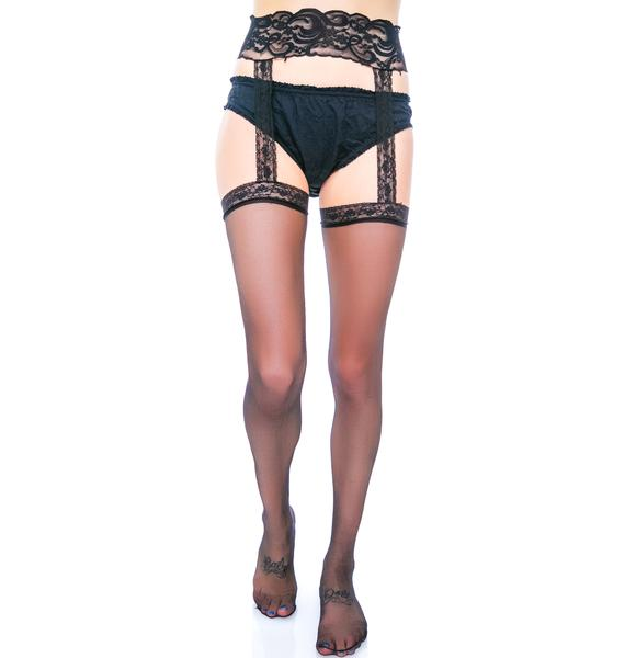Sheer Pleasure Back Seam Garter Belt Stocking