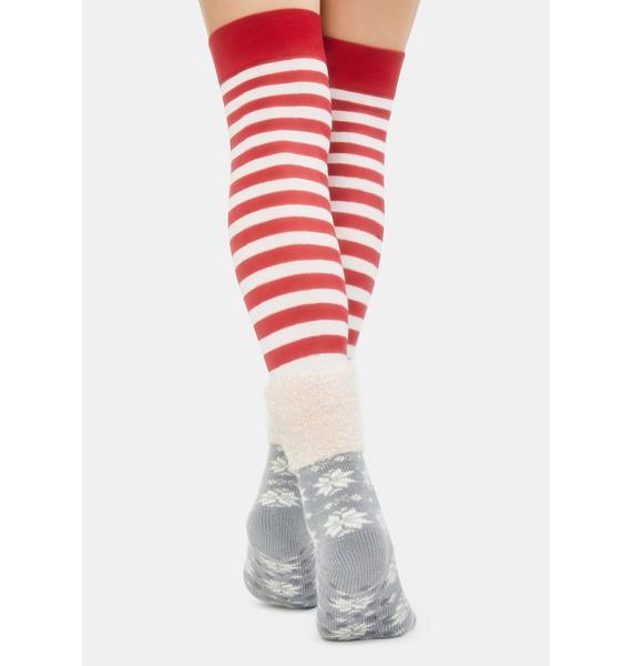 MeMoi Alloy Snowflake Fairy Plush Socks